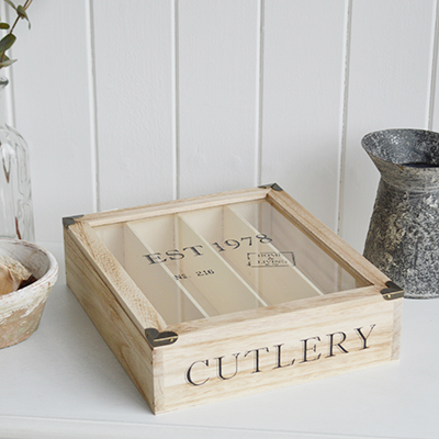 Wooden Cutlery Box with lid