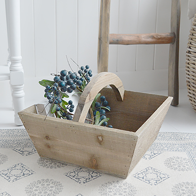 Pawtucket wooden box basket from The White Lighthouse Furniture. New England, country, coastal, city and white home interiors. Hallway, Bedroom , Bathroom and living room.