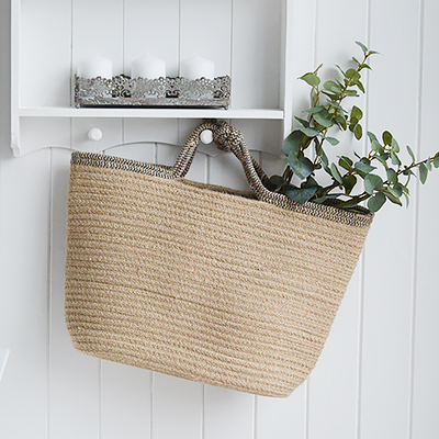Jute basket with handles for logs, toys and everyday storage from The White Lighthouse Furniture and Home Interiors for New England, country, coastal and city homes