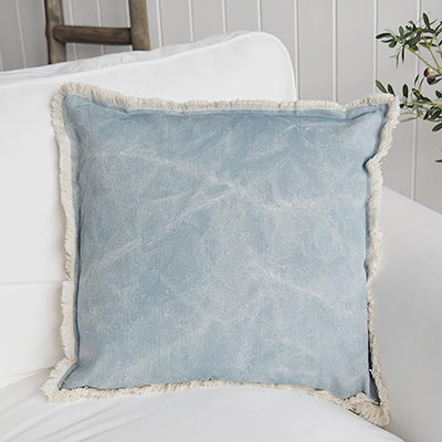 Famlouth Blue cushion. New England style cushions and soft furnishings from The WHite Lighthouse Furniture