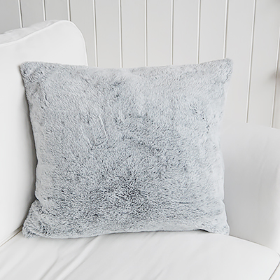 Luxurious soft grey faux fur cushion cover - Just perfect for our New England styled interiors for coastal, city and country homes in a simple but gorgeous style