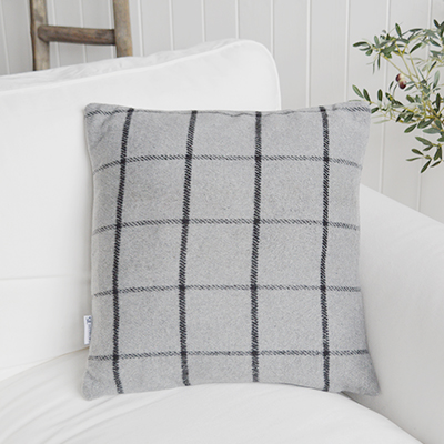 Richmond check filled cushion. New England style cushions and soft furnishings from The White Lighthouse Furniture