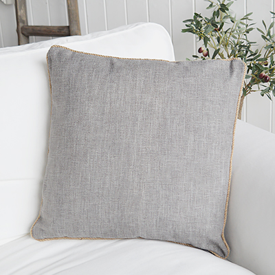 Quincy grey cushion. New England style cushions and soft furnishings from The WHite Lighthouse Furniture