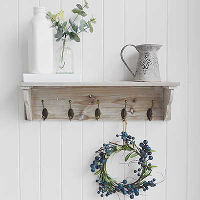 Pawtucket grey wooden wall shelf with hooks from The White Lighthouse. White Furniture and accessories for the bedroom, bathroom, hall and living room in coastal, New England and country homes and interiors