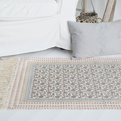 Our stunning Hamptons rugs in beautiful dusky pink, blues and linen colour offer thick gorgeous floor coverings on carpets and hard floors alike.