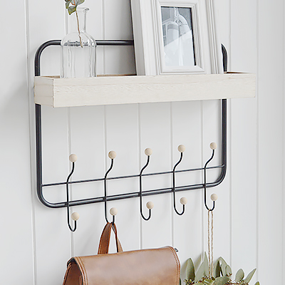 Harrisville Wall Shelf with hooks. New England coasal and country furniture for homes and interiors from The White Lighthouse Furniture