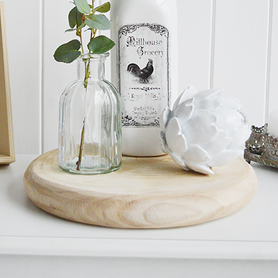 White Furniture and accessories for the home. Canterbury round wooden tray with rope handles for New England, Country and coastal home interior decor