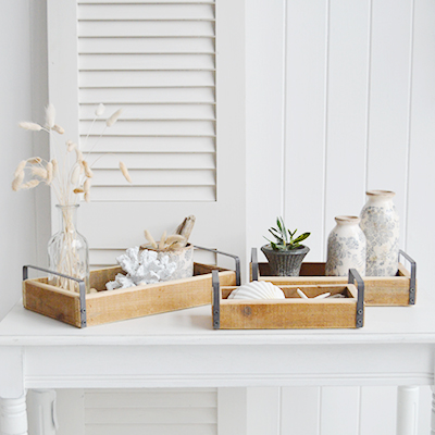 Pawtucket New Eingland country, coastal and farmhouse home furniture and interiors. A set of 3 wooden display trays