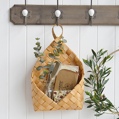 Branford hanging basket for wall decor. A useful and attractive basket to hang on hooks throughout the home. So many uses everywhere in all rooms