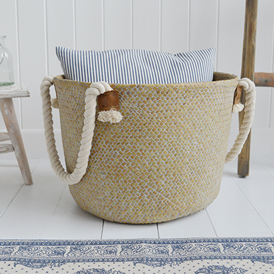 The Bridgehampton grey wash basket with large chunky rope handles for New England interiors from The White Lighthouse Furniture for coastal, country, and city homes