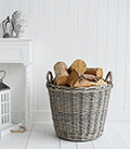 Grey round basket with handles for logs, shoes, toys