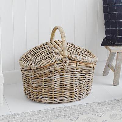 Casco Bay picnic style storage basket with lid from The White Lighthouse Furniture. New England, country, coastal, city and whie home interiors. Hallway, Bedroom , Bathroom and living room