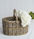 Grey willow traditional shopping basket