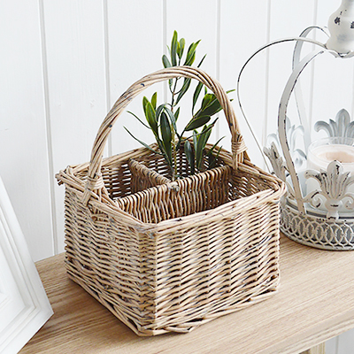 A square grey basket in Windsor Grey with a handle and three compartments.		Ideal for organising and storing of small items in the living room, bedroom, bathroom, Kitchen, laundry and office...tabletop cutlery, letters pens and pencils make up utility