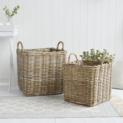 Casco Bay large square baskets for New England coastal, country, farmhouse and city homes and interiros from The White Lighthouse furniture