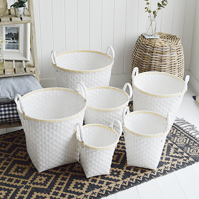 Rockland set of 6 white baskets