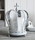 Large grey crown candle holder