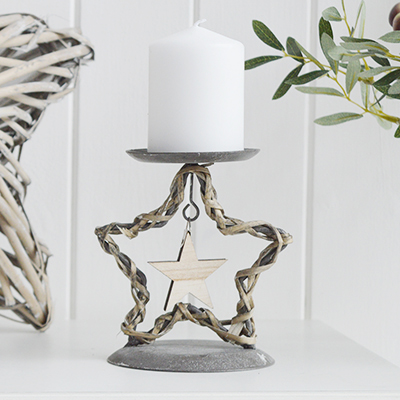Star Candle holder for pillar candles. New England style home interiors and furniture from The White Lighthouse