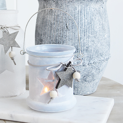 Our grey etched glass candle hanging lantern holder with star and hanging wooden starThe range of candle holders in grey and white are a perfect accompaniment to our New England, country and coastal furniture for your bedroom, living room, hall and bathroom.