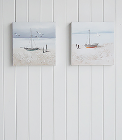 Set of 2 hnad painted oil canvases of boat coast beach nautical scene