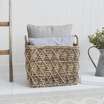 Casco Bay Grey Willow basket with handles