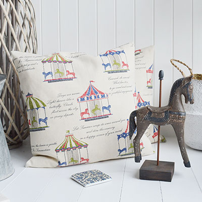 Carousel cushion with inner for New England homes and interiors