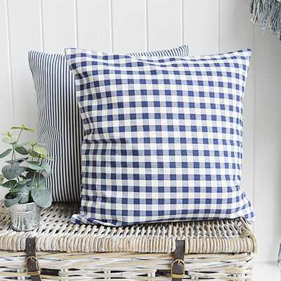 The White Lighthouse. Navy blue and White Floral Cushion Cover. New England and White Home Interiors and furniture