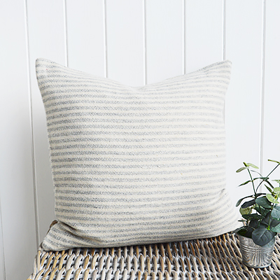 Our stunning Hampshire wool cushions in greyand ivory checks and stripes.