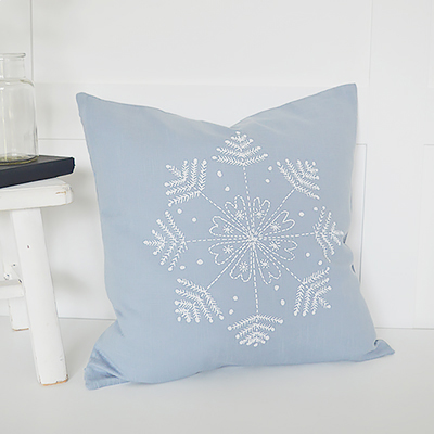 The White Lighthouse. Pale Blue Heart Cushion Cover. New England and White Home Interiors and furniture