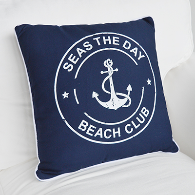 Navy and White Beach Club cushion with inner for coastal New England homes and interiors by the sea