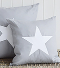 New Hamptons grey and white star cushion