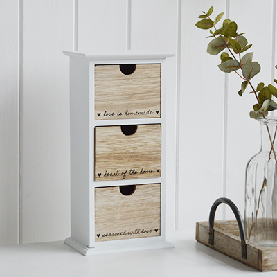 The White Lighthouse. Cove Bay White small drawers. New England, Coastal, country and white furniture for the living room, bedroom, hallway, or bathroom
