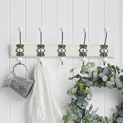 Vintage style numbered hooks from The White Lighthouse. Furniture and accessories for the bedroom, bathroom, hall and living room New England furniture and interiors