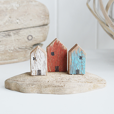Wooden distressed houses for New England country coastal and farmhouse interiors