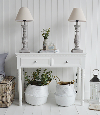 Table lamps are a must to ensure the room is kept bright even on the duller days