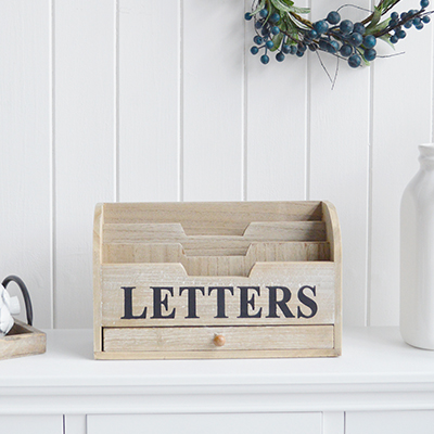 New England Home Interiors Coastal and Country   Furniture and accessories for the home. A  washed wood letter rack from The White Lighthouse