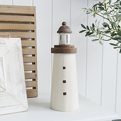 Luxury Chic Coastal nautical decorative accessories for the home by the sea. Wooden lighthouses