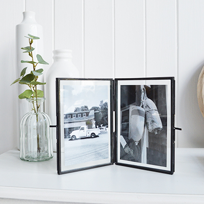 Camden wooden box photo frame for 5 x 7 photographs - portrait or landscape. White Furniture and home decor accessories for the New England styled home for all country, coastal and city houses