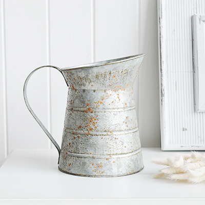 Small metal vintage pitcher for white homes in New England Style