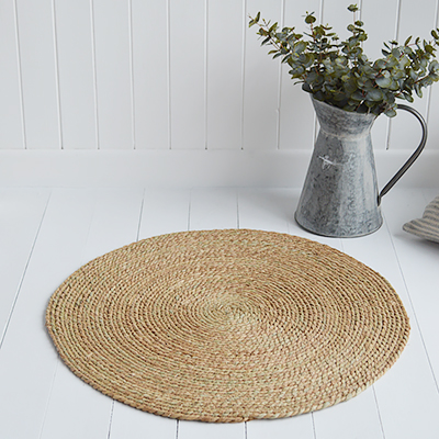 Cape Cove Round Seagrass Mat. New England Coastal, Country and City homes - The White Lighthouse Furniture