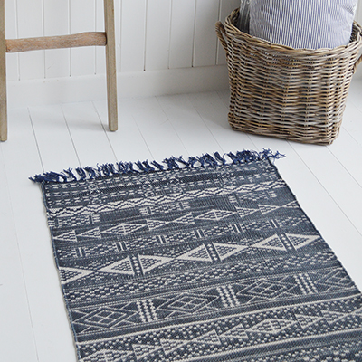 Bridgton Jute Navy Runner 200 cm x 70cm. New England Coastal, Country and City homes