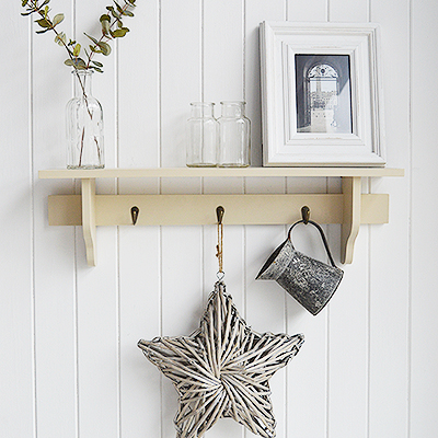 Springfield Cream Wall Shelf with pegs for  coastal New England look furniture