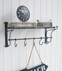 Marseille wall shelf with hooks for hallway, kitchen and bathroom furniture