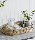 Large grey willow tray for table top
