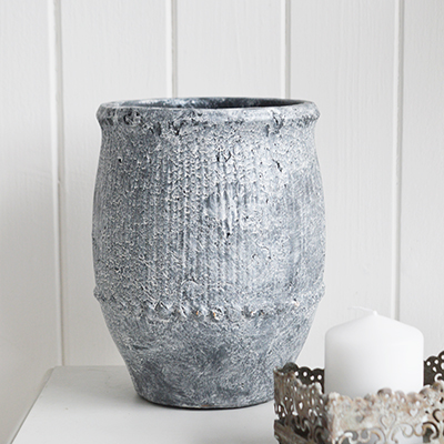 New England style interiors - Grey stone wash vase for country and coastal interior home decor