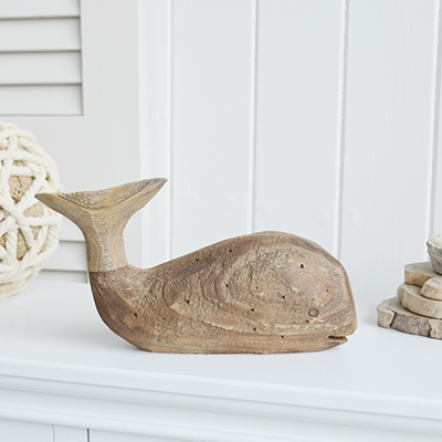 Wooden distressed whale for New England country coastal and farmhouse interiors