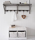 White Storage Seat , a bench with 2 baskets for hall storage furniture