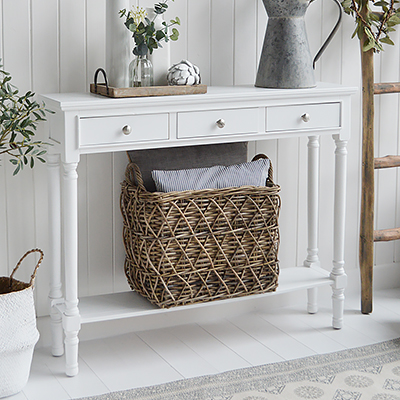 New England white furniture for country, coastal and city living room and hallway furniture for delivery in UK