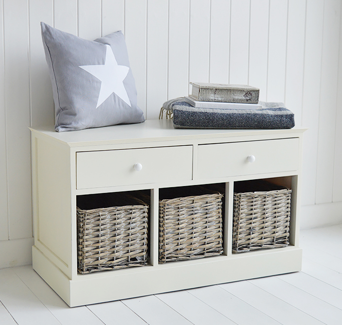 Portland Small Storage Seat With Baskets. Hall Furniture