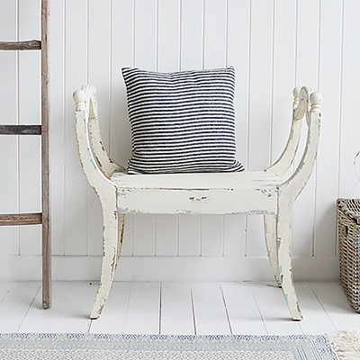 Bedroom : Add to the end of your bed or under a window for a dramatic look to your bedroomHallway: A perfect hallway bench, place near the door for a seat to put on shoes and bootsLiving Room: Under a window or against a wall, the Provincetown seat makes a wonderful statement